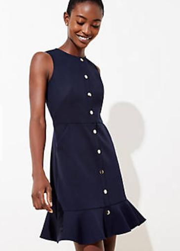 Gilded Button Flounce Pocket Dress