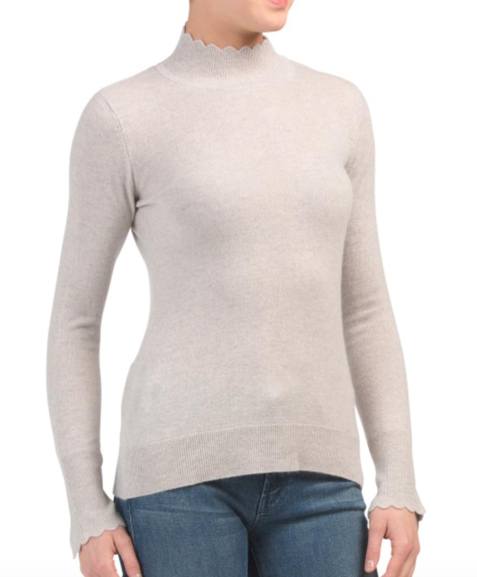 Nanette Lapore Cashmere Scallop Mock Sweater