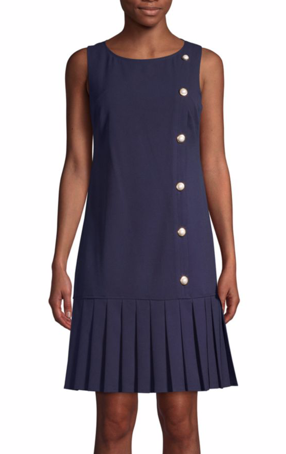 Karl Lagerfeld Paris Pleated-Hem Shift Dress