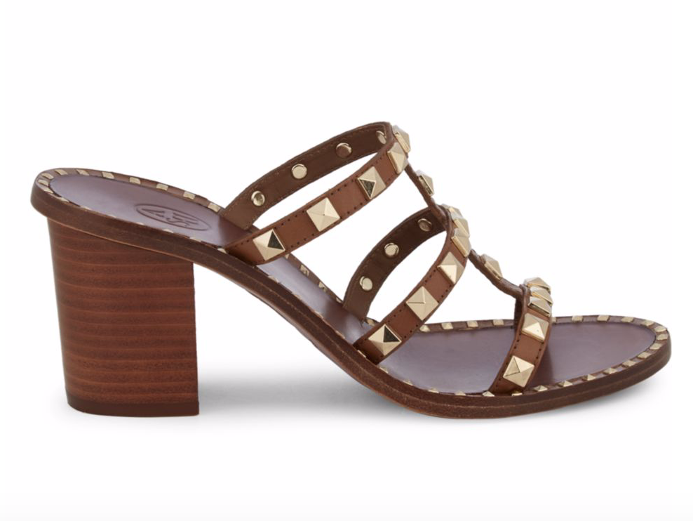 Ash Playa Studded Leather Heeled Sandals