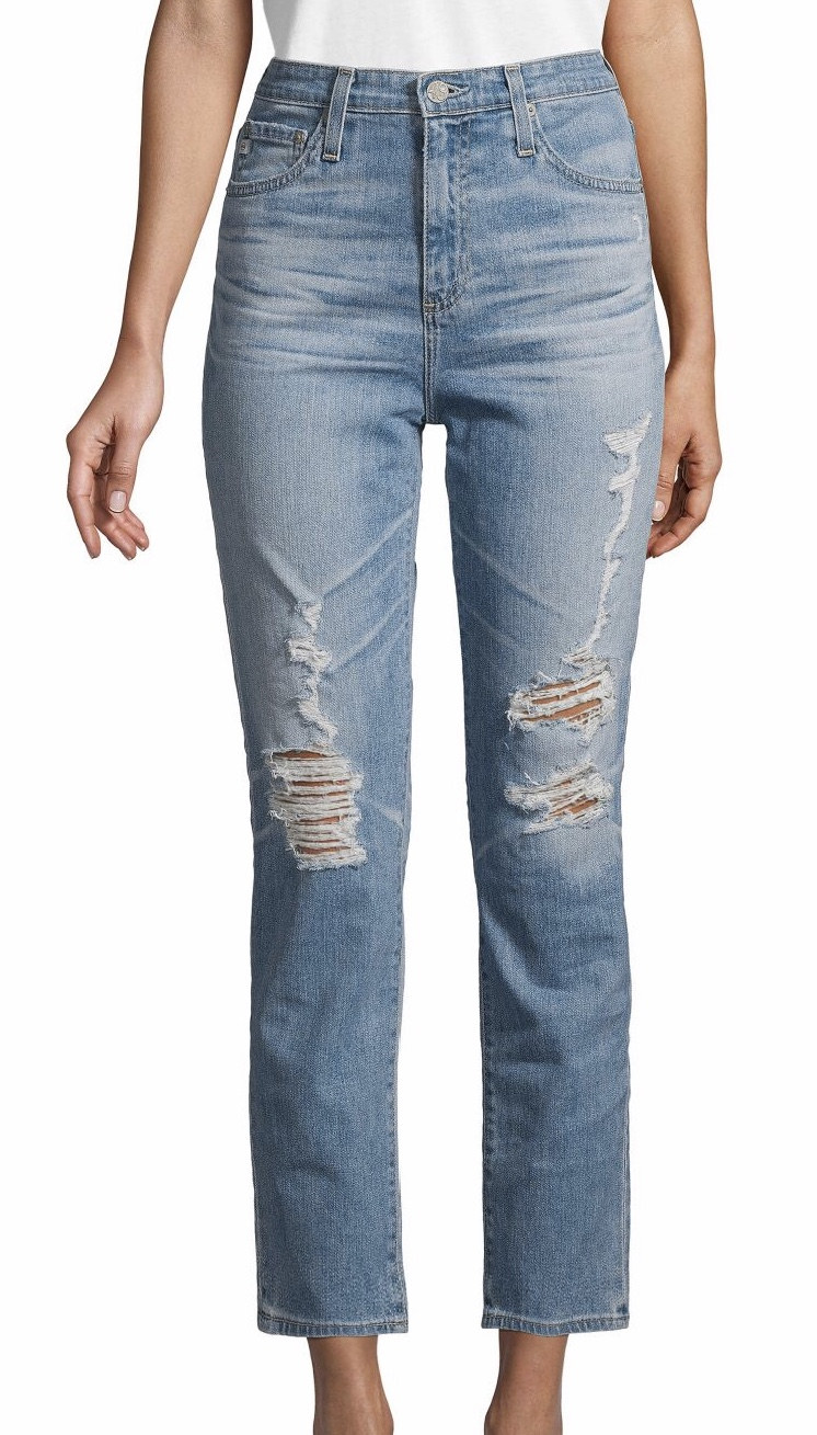 AG Jeans Pheobe Distressed High-Waisted Tapered-Leg Jeans