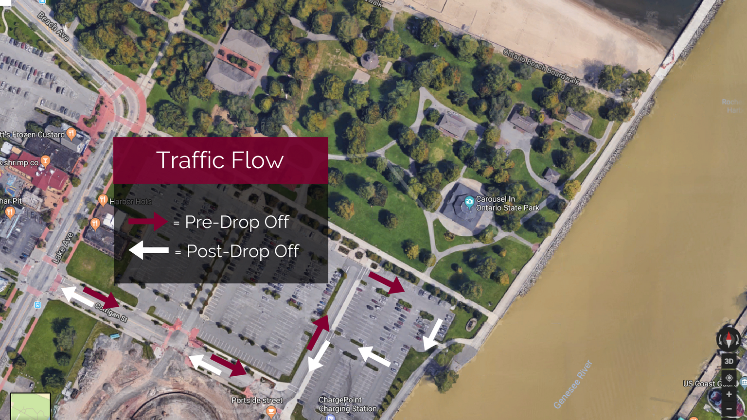 You can make your way into and out of the Charlotte Beach Parking lot following this traffic flow diagram. You'll see a group of volunteers with signs helping point you in the right direction at each turn. Check out the traffic flow team placement below to know where to look for our volunteers as you make your way into the parking lot. Here's where our flow team will be placed throughout the parking lot:
