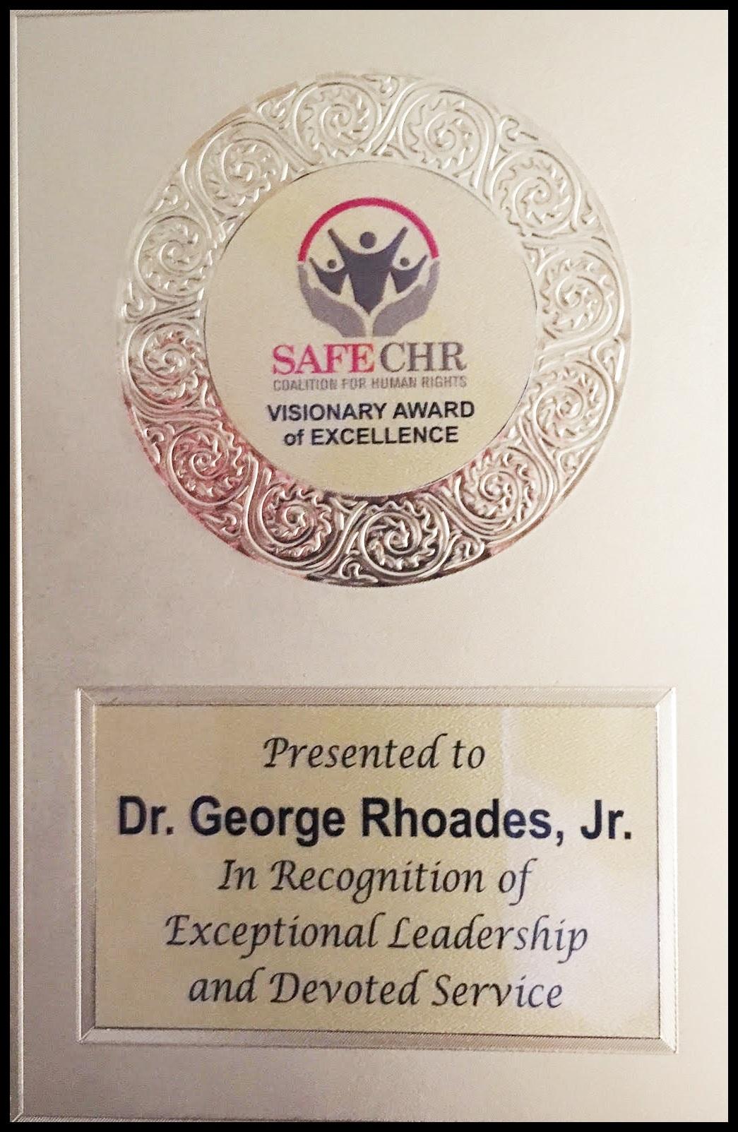 Leadership Award - Dr. Rhoades