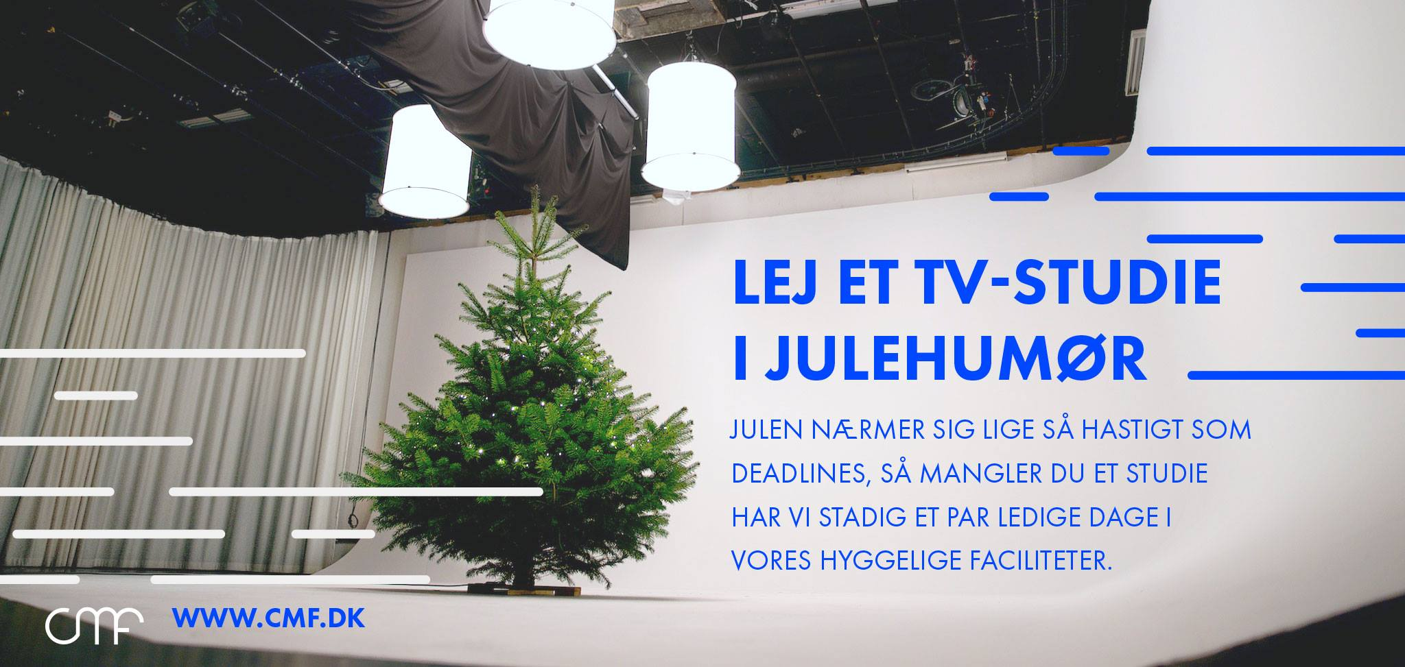 SoMe banner: Rent a TV studio in the mood for Christmas.