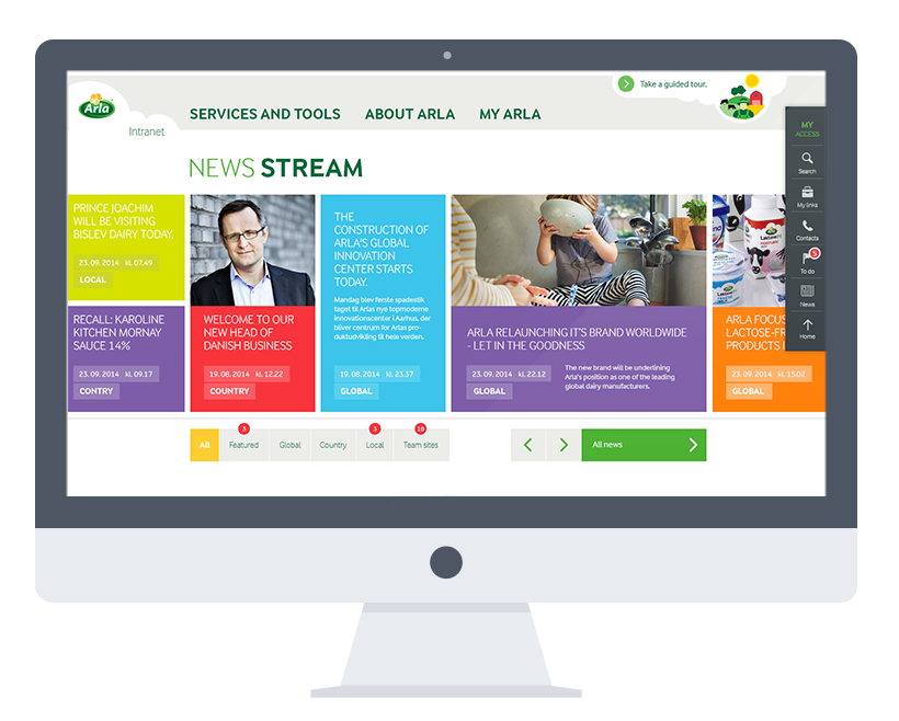 global intranet for ARLA - Case: Webdesign & UXAgency: ValtechAchievement: Silver Award 2016 at The Intranet and Digital Workplace Awards