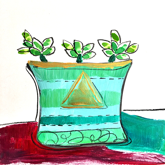 Watercolor leaves make it easy to add to without hassle or mess.