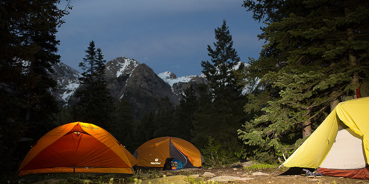 Tent in front of the San Juans