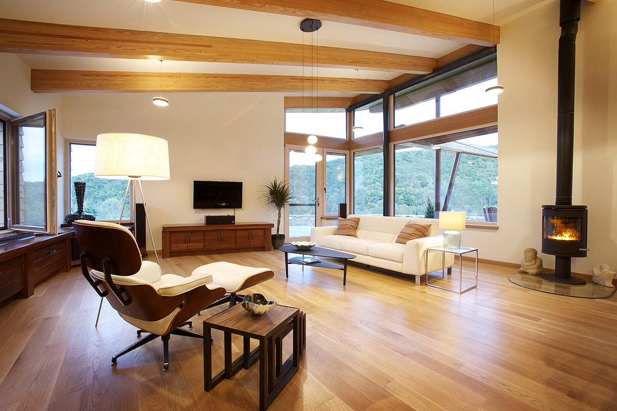 Living room image of a self sustaining home in Virginia.