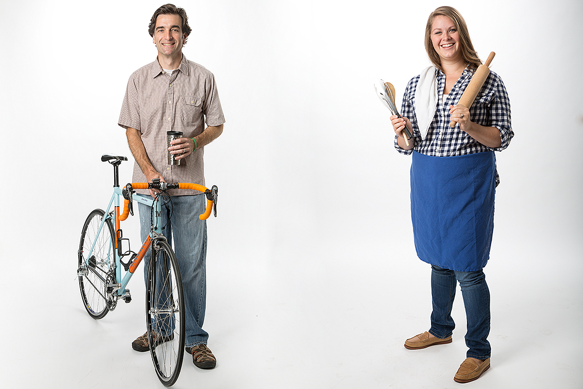 Lifestyle image of a man with a bicycle and woman as a chef.