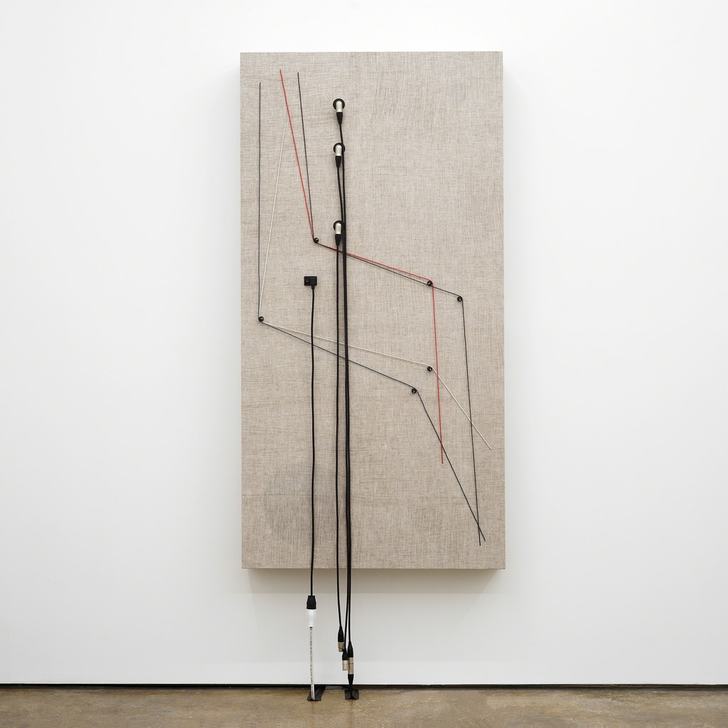 Transition , 2016, Wood, canvas, electronics, cables, knobs, amplifier tubes, speakers, 65 × 33 × 6 1/2 in