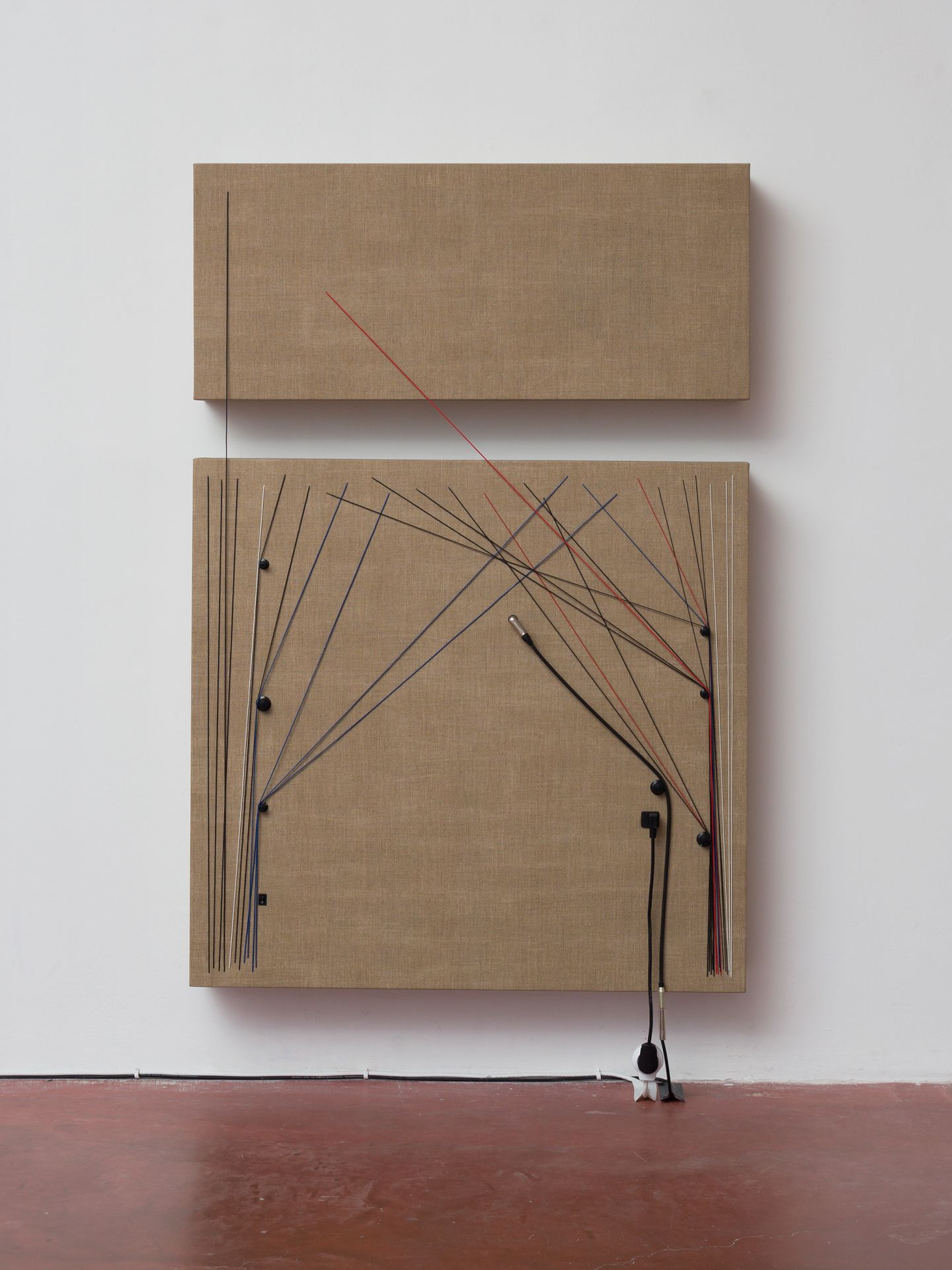 """Transition , 2016, Wood, canvas, electronics, cables, knobs, speakers, 60 3/5 × 40 7/10 × 6 1/2"""""""