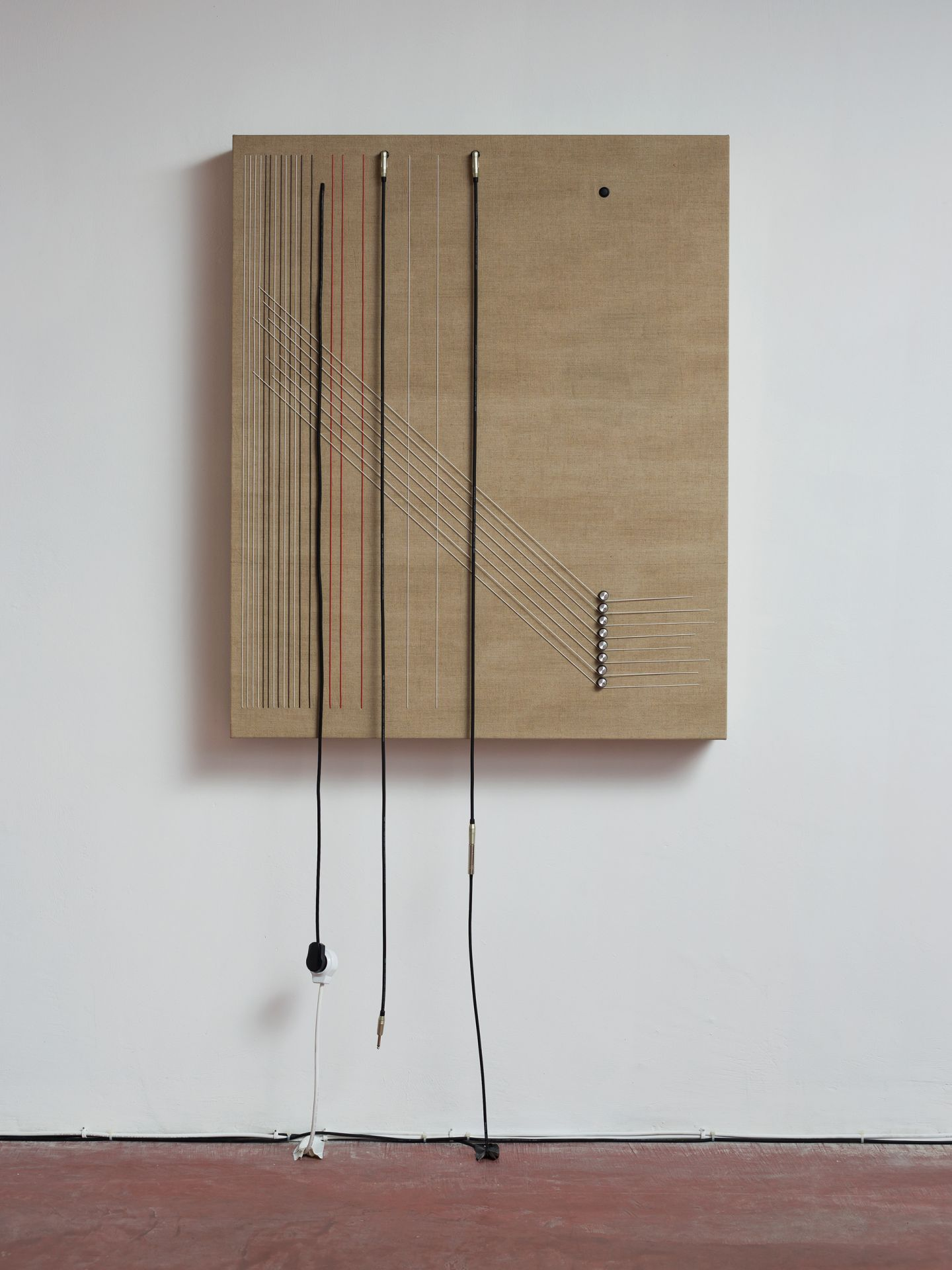 """Transition , 2016, Wood, canvas, electronics, cables, knobs, speakers, 46 1/10 × 38 × 5 1/2"""""""