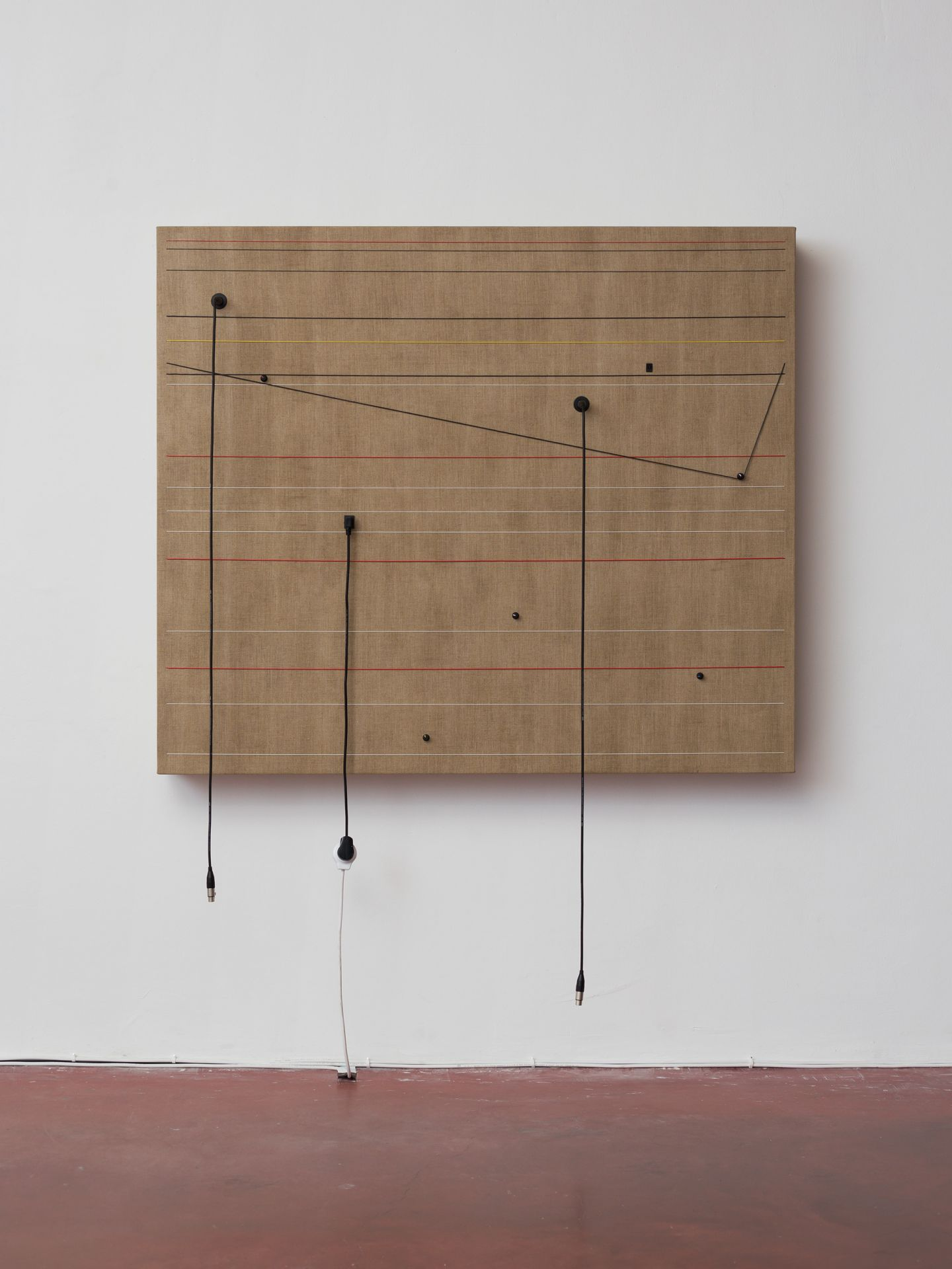 """Transitions , 2016, Wood, canvas, electronics, cables, knobs, speakers, 51 3/5 × 60 2/5 × 6 1/2"""""""
