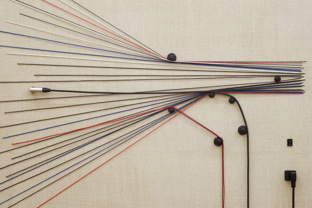 Transition  (detail), 2016, Wood, canvas, electronics, cables, knobs, amplifier tubes, speakers, 56 × 40 × 6 1/4 in