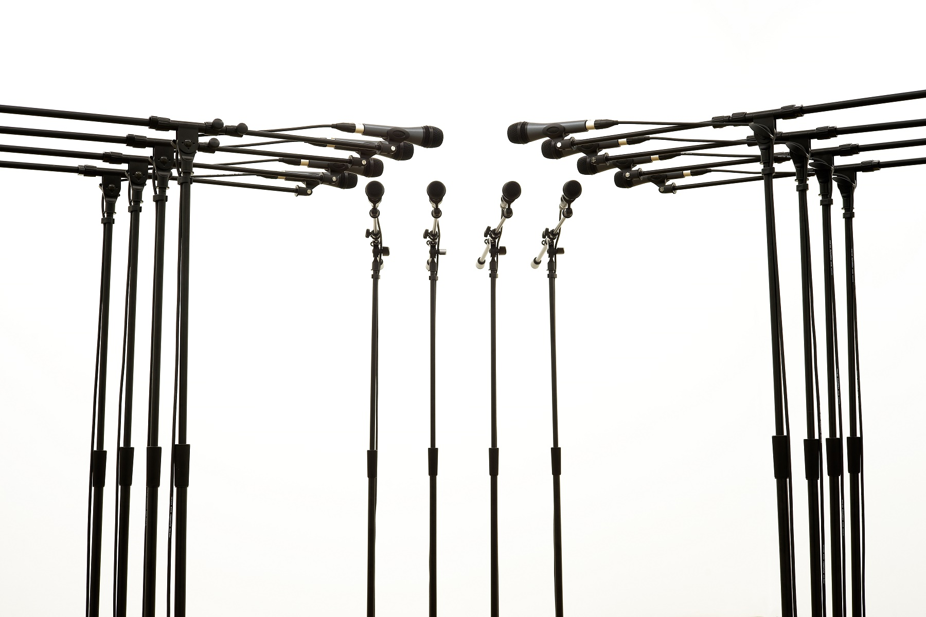Barricade #3 , 2016, 12 microphones and microphone stands and matching audio equipment, 62 × 98 × 98 in. Photo: Diana Larrea.