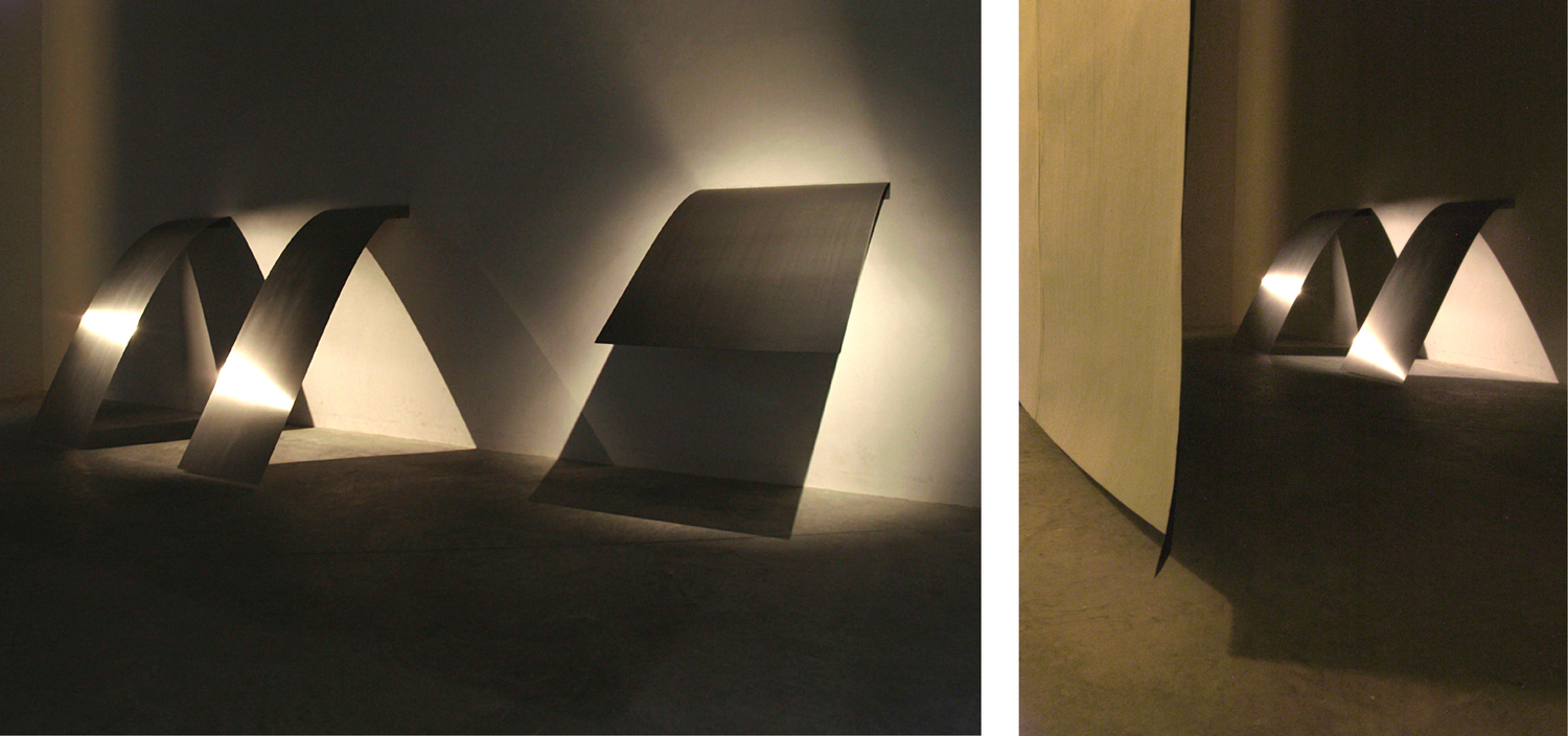 Tired Shelves , 2008, Stainless steel, 64'' x 21.5'', 64'' x 21.5'', 48'' x 29''