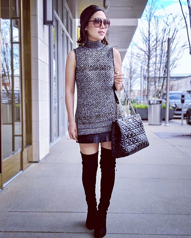 Had a nice time walking around in this warm weather. Love my sleeveless sweater @aliceandolivia and my favorite boots - Stuart Weizmann Hiline Over-The-Knee #stuartweitzman #stuartweitzmanboots