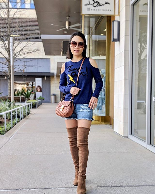 Today I got to wear one of my favorite spring outfits - @aliceandolivia Cold Should Sweater with #stuartweitzman hiline over-the-knee boots. Also loving my #chloé mini drew bijou shoulder bag. #chloebag #fashion #stuartweitzmanboots