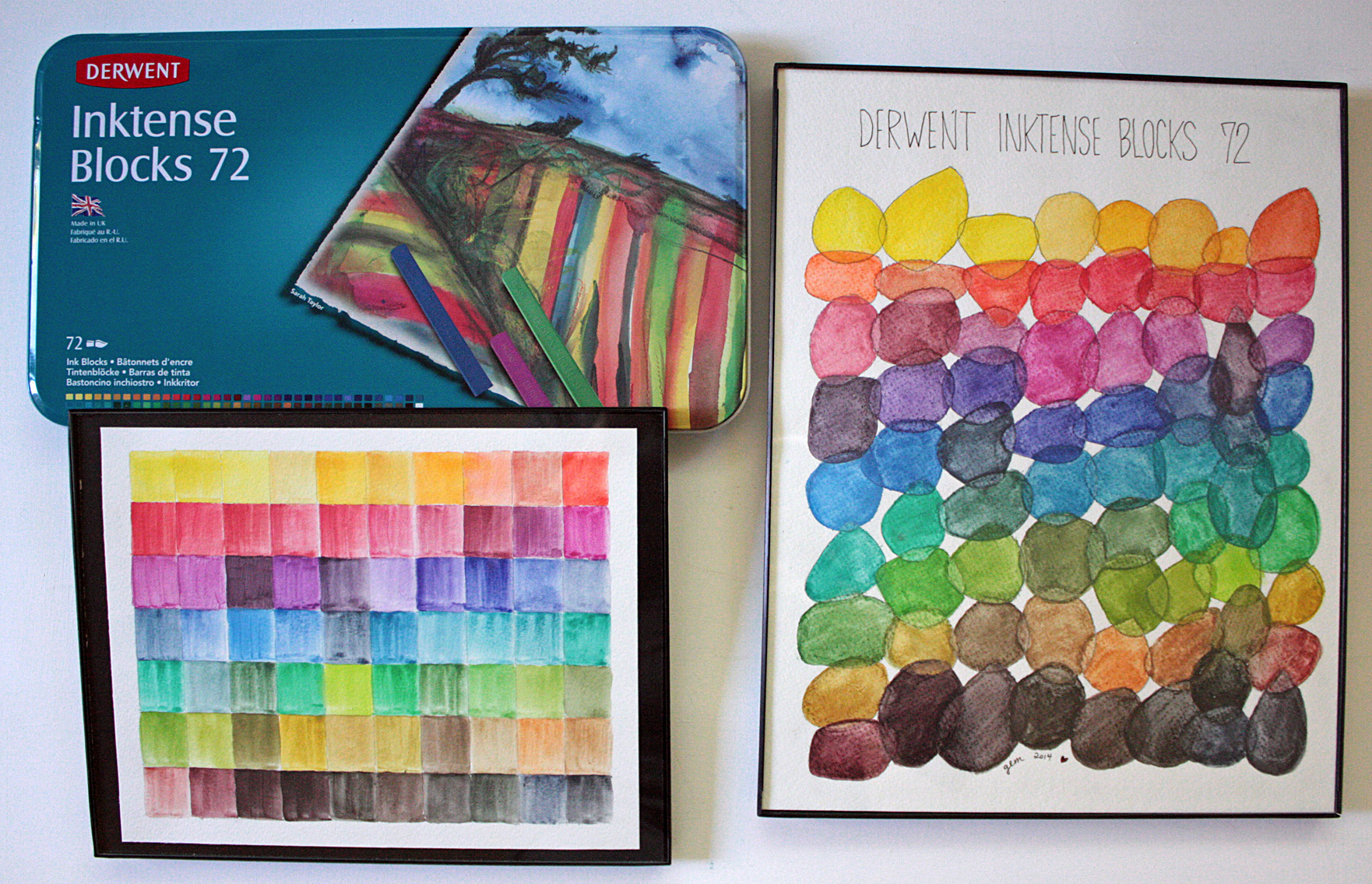 Derwent Inktense Blocks 72 count tin with framed handpainted color palettes