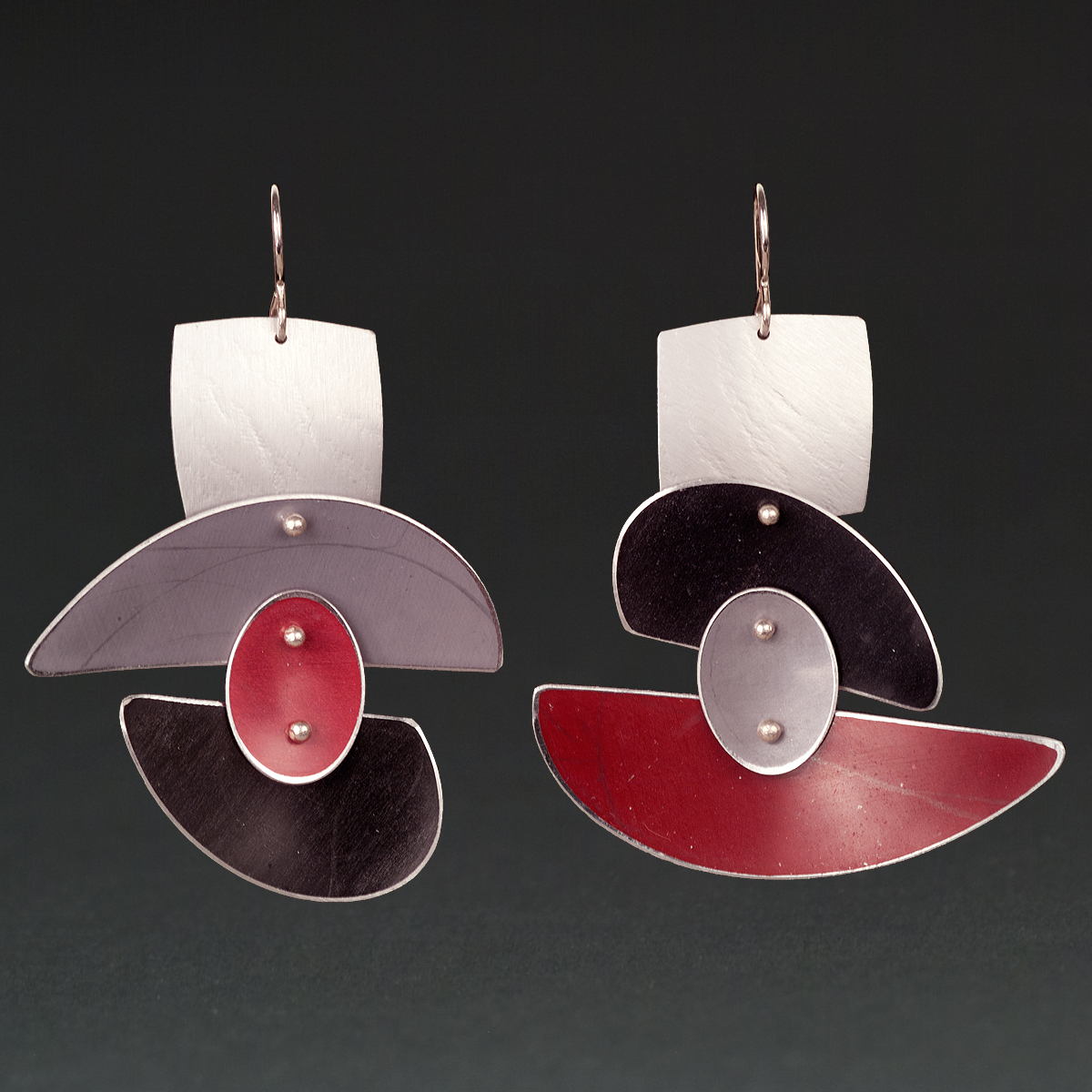 D - Silver, Grey, Red, Black