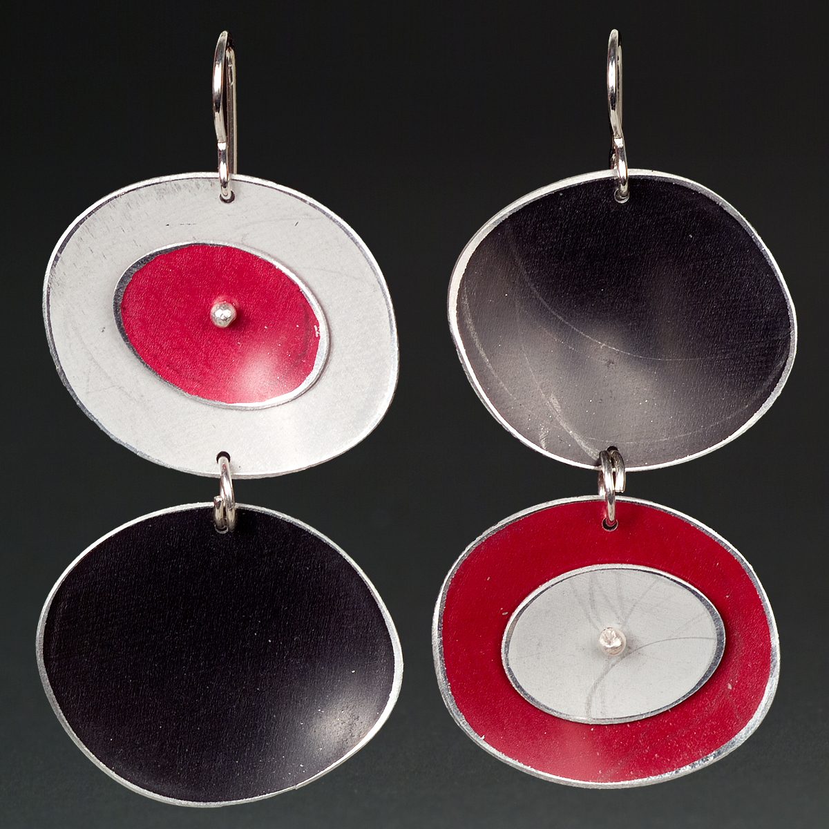 A - Silver, Black, Red