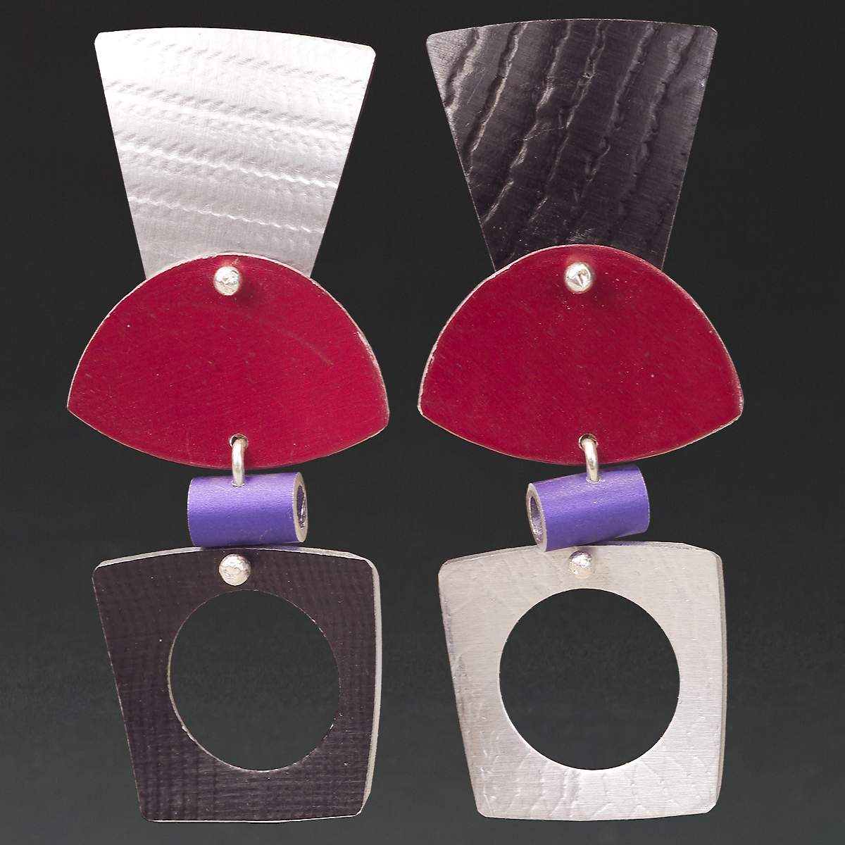 D - Silver, Black, Red