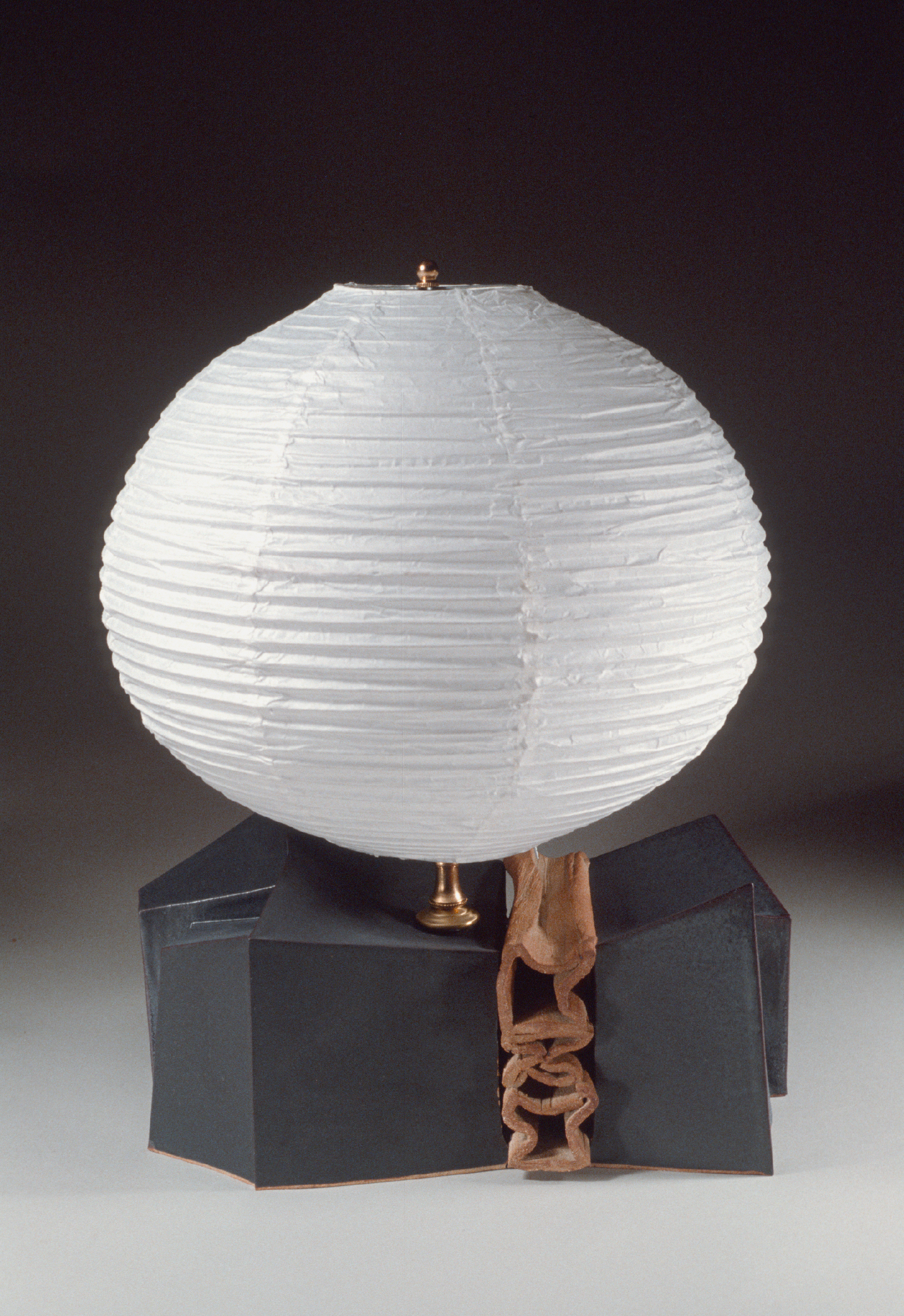 "Lamp: Stoneware, paper shade., 15"" wide. c. 1979"
