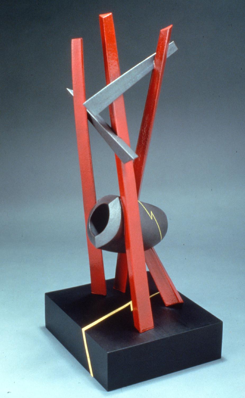"Stoneware, overglaze, wood, copper. 24"" t.. Hollow construction. c. 1979"
