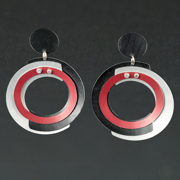 A - Black, Silver, Red