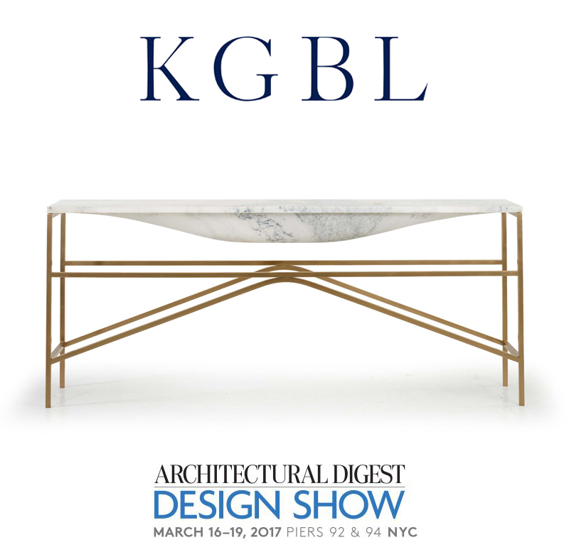 Architectural Digest Design Show 2017 - A world of design inspiration awaits at the 16th annual Architectural Digest Design Show on March 16–19, 2017 at Piers 92 & 94 (55th Street and the West Side Highway) in New York City. KGBL is excited to participate! Visit us at Booth 101...the very first booth in the show!The world's leading brands along with today's top talent come together in a carefully curated presentation of design, offering inspired vignettes by respected brands, design seminars, culinary demonstrations, and special appearances. From furniture, accessories, lighting, and art to kitchen, bath, and building projects, the show offers thousands of products to source and shop—both from independent makers and established manufacturers.Now in its 16th year, the Architectural Digest Design Show draws approximately 40,000 design aficionados to interact with incredible design displays from more than 400 brands.