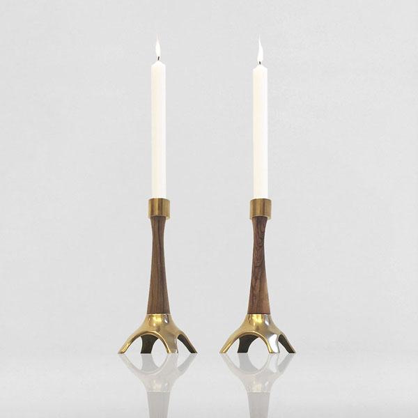 Brass & Teak Candlesticks