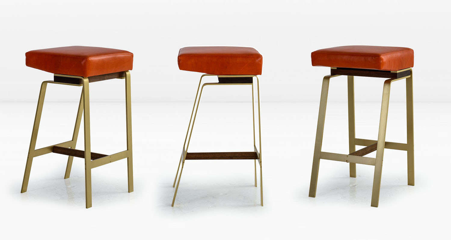 Solid Brass base with American Black Walnut &  Tomato  leather seat