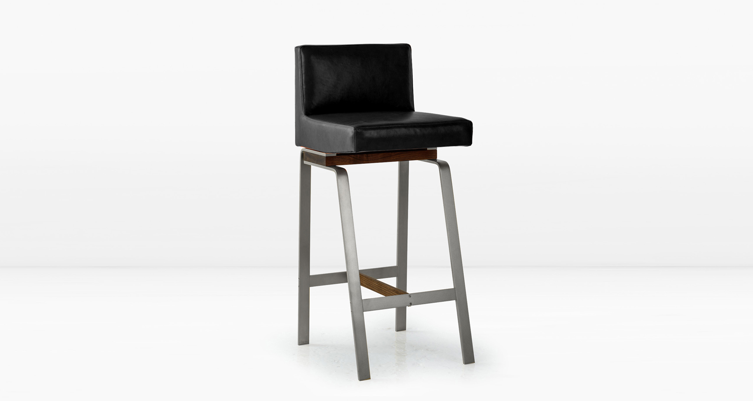 Nickel base with American Black Walnut and  Black  leather seat