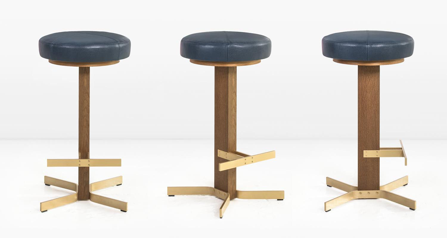 Solid Brass base and  Ink leather seat