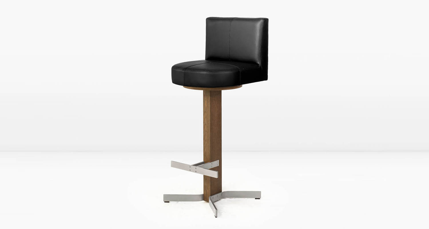 Nickel base and  Black  leather seat