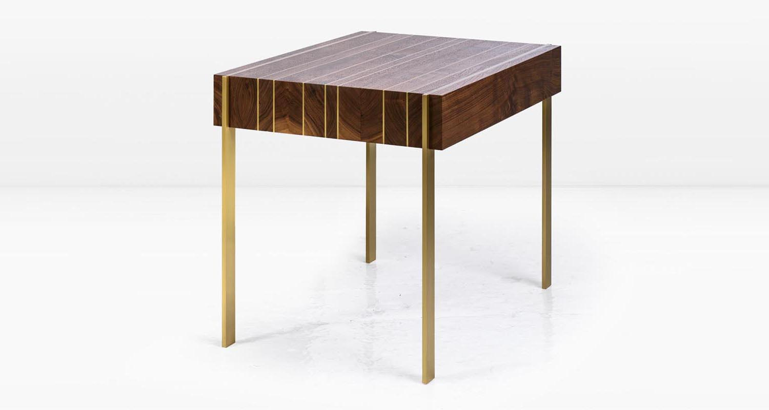 American Black Walnut and Solid Brass legs & inlay