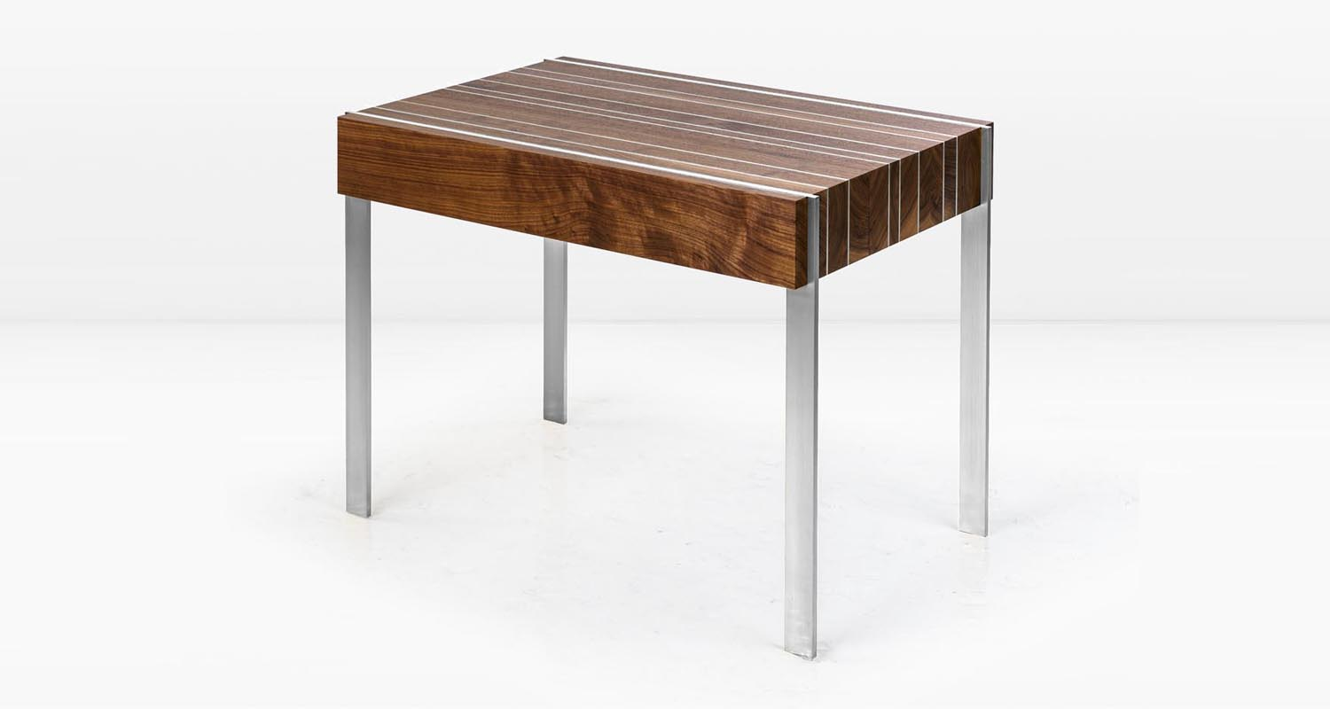 American Black Walnut and Stainless Steel legs & inlay