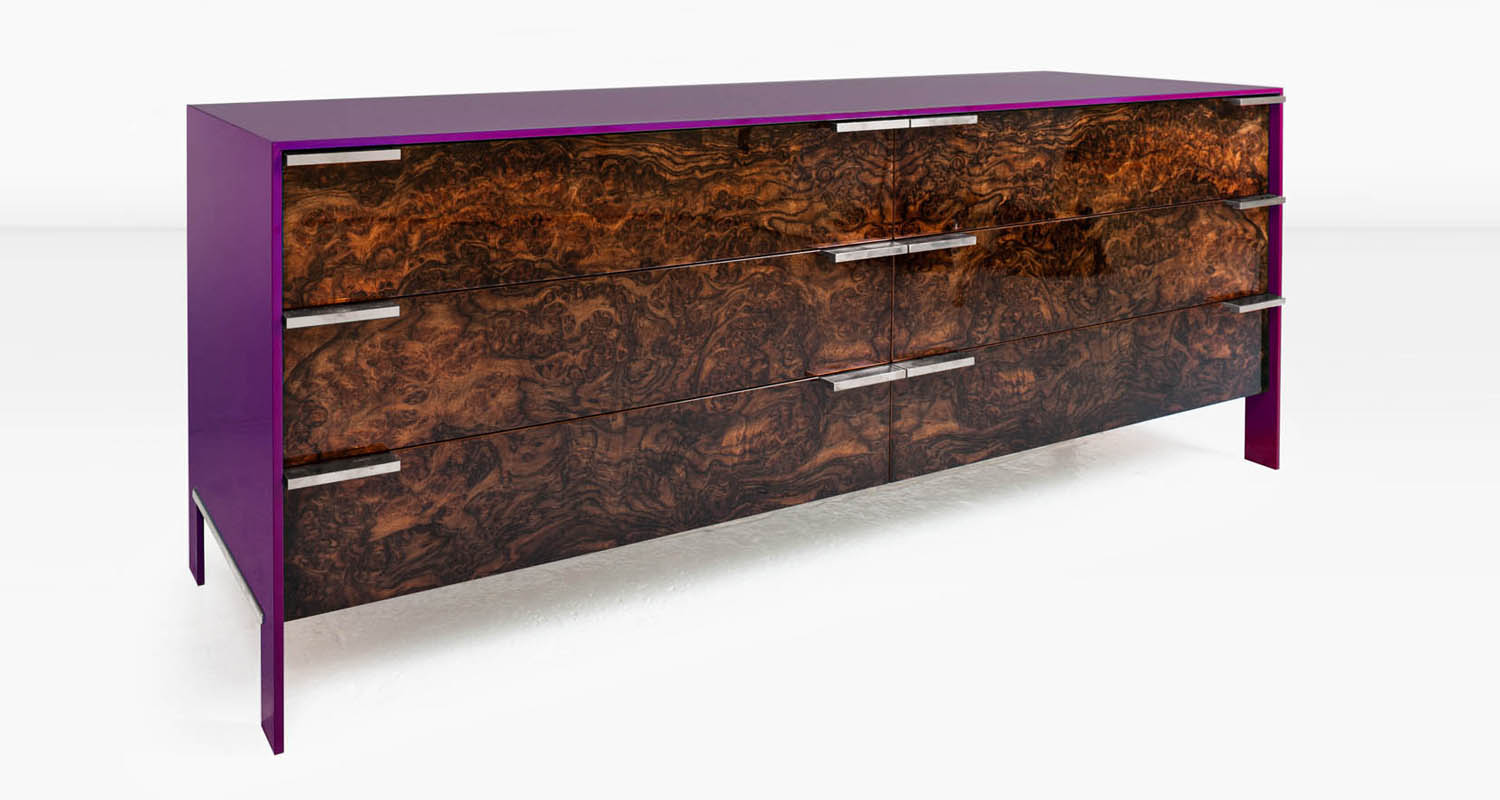 Walnut Burl veneer with Nickel pulls