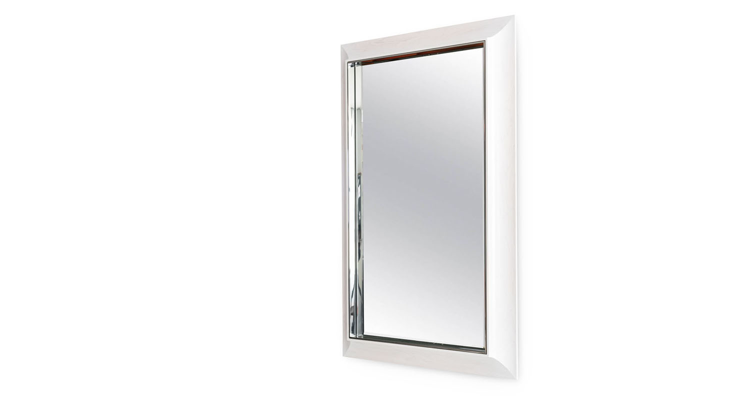 Mirror-polished Stainless Steel with White Stained Maple outer frame