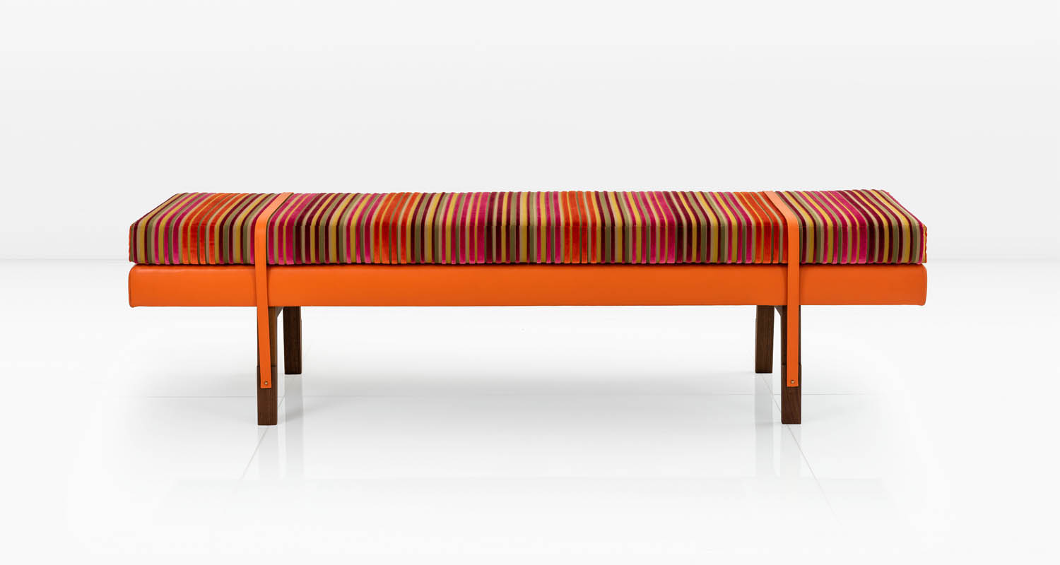 Clementine Orange leather base and striped cut velvet cushion.