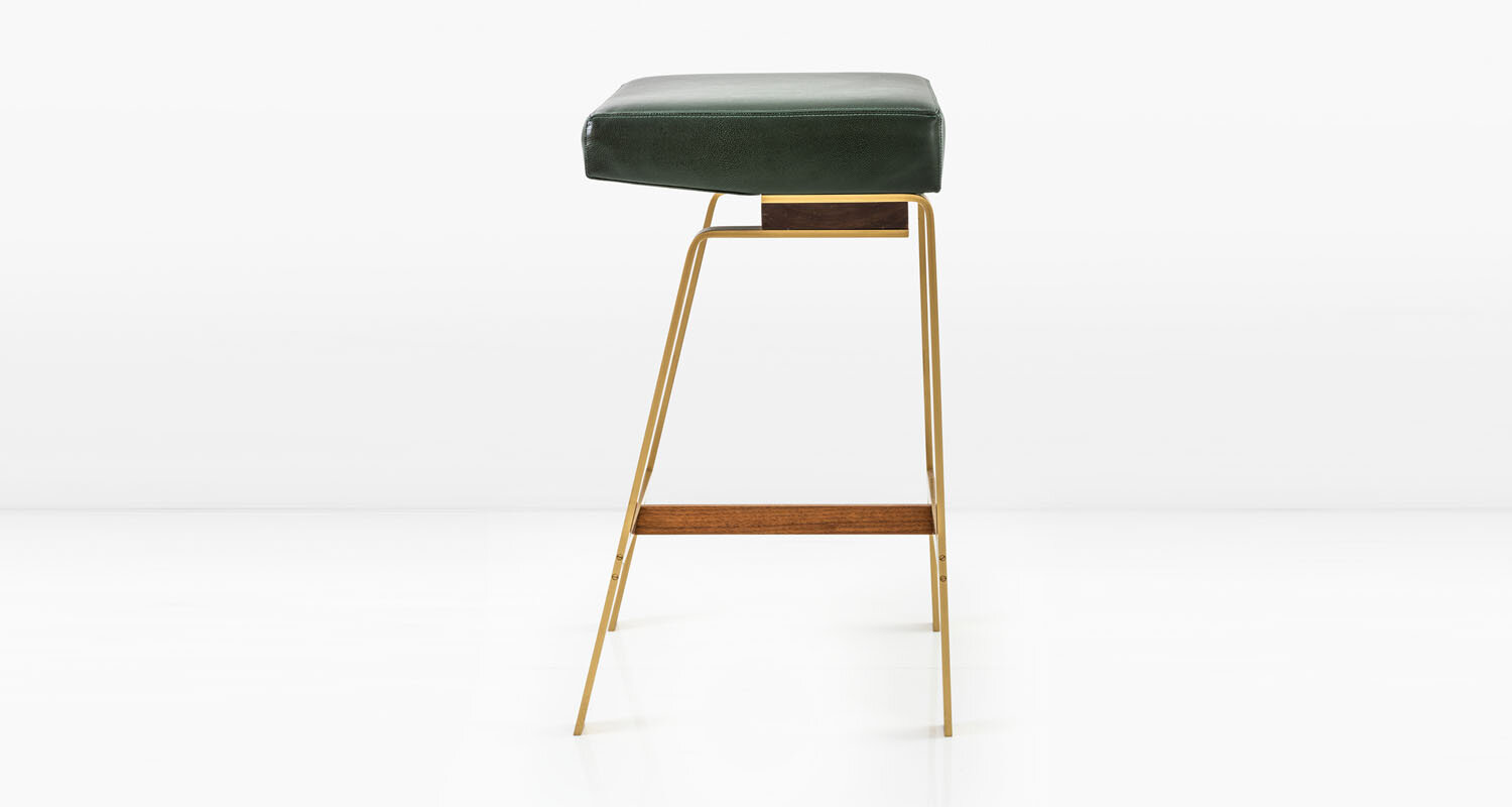 Solid Brass base with American Black Walnut &  Balsam  leather seat