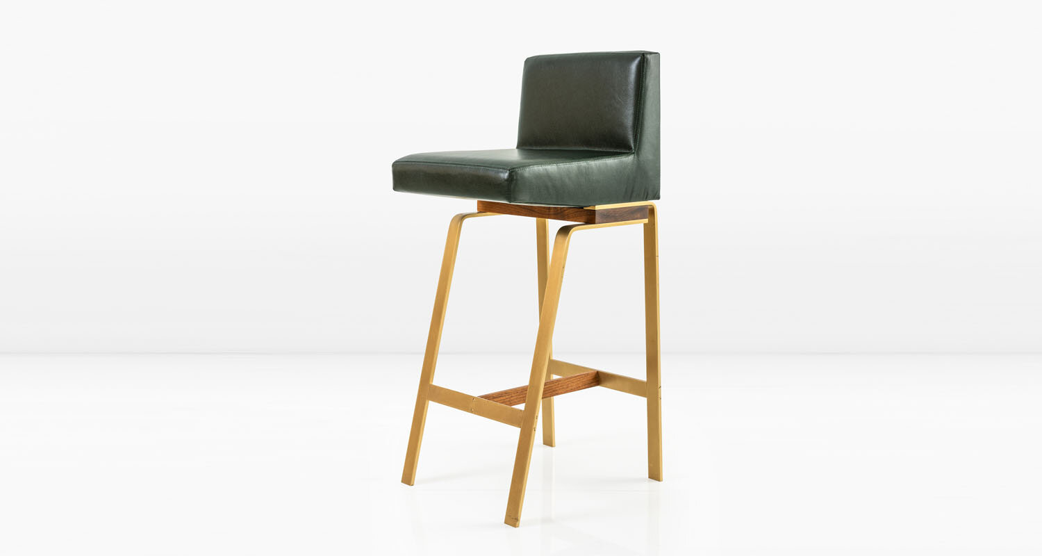 Solid Brass base with American Black Walnut and  Tomato  leather seat