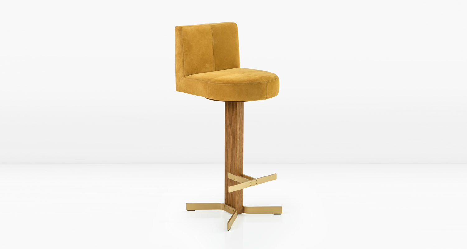 Solid Brass base and  Buttercup  suede seat