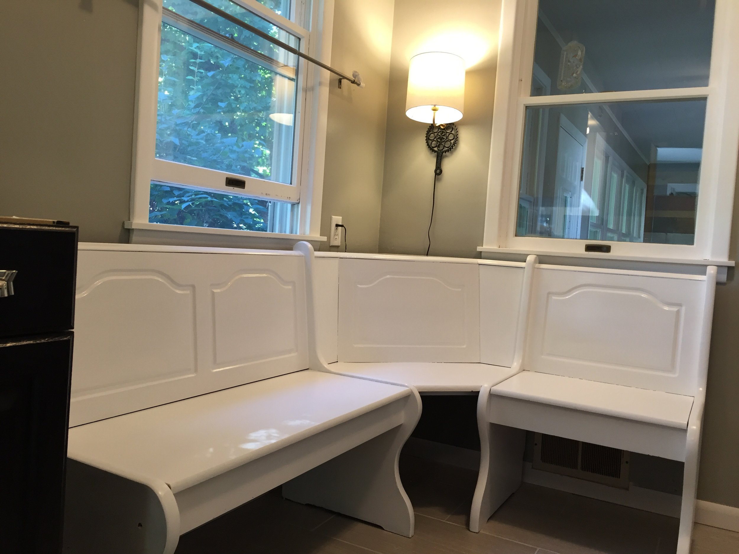 The banquette got painted this week too