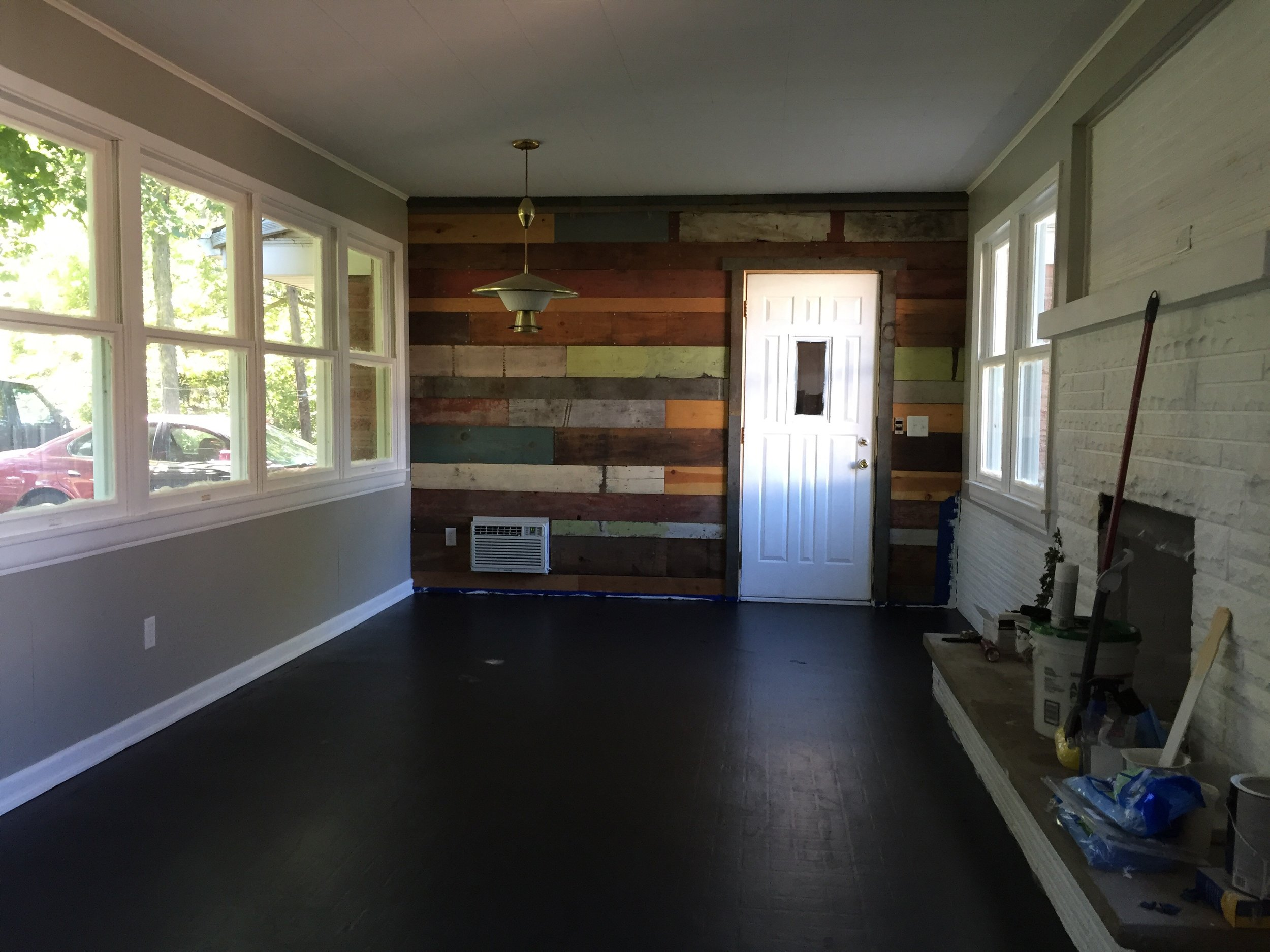 And the breezeway is done, at least until the chimney gets fixed. Now just waiting for the floor to dry!