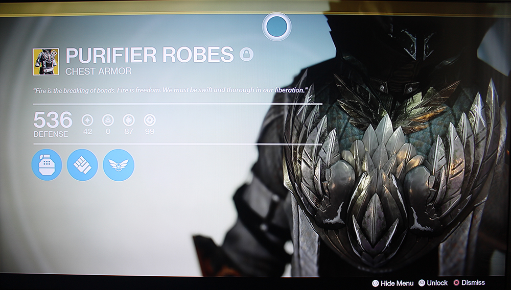Destiny Warlock Exotic Chest Piece Purifier Robes
