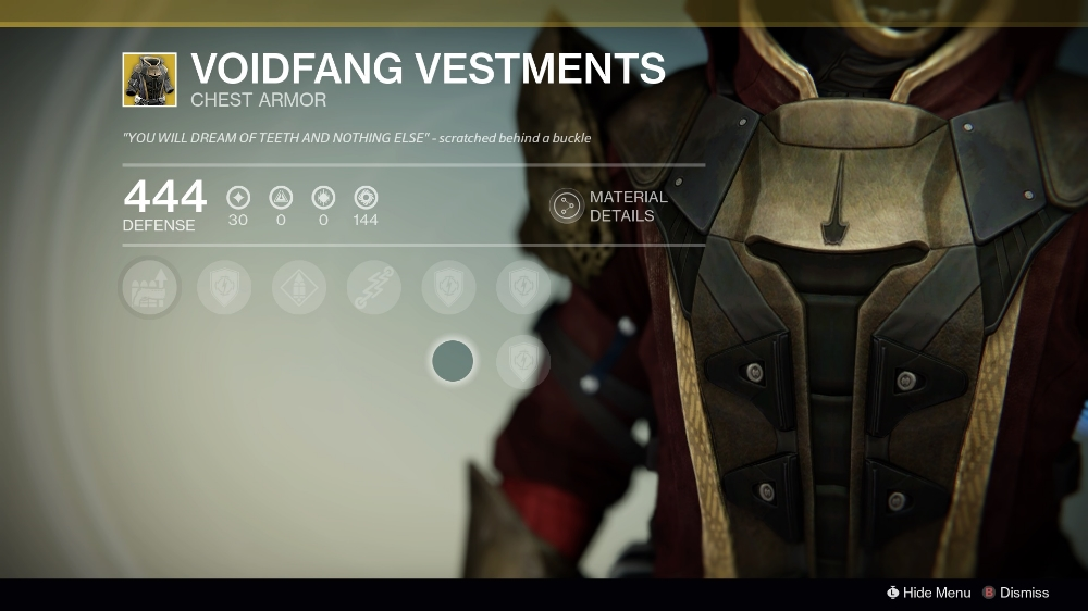 Destiny Voidfang Vestements Warlock Exotic Chest Piece