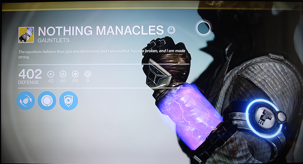 Destiny Warlock Nothing Manacles Exotic Gauntlets