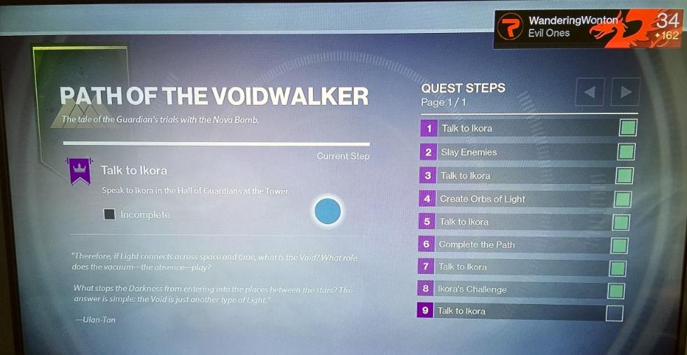 Destiny Path of the Voidwalker Warlock Challenge from Ikora Vanguard in The Taken King