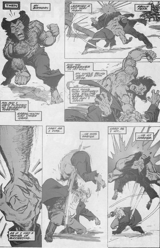 Wolverine #10 Sabertooth beats up Wolverine
